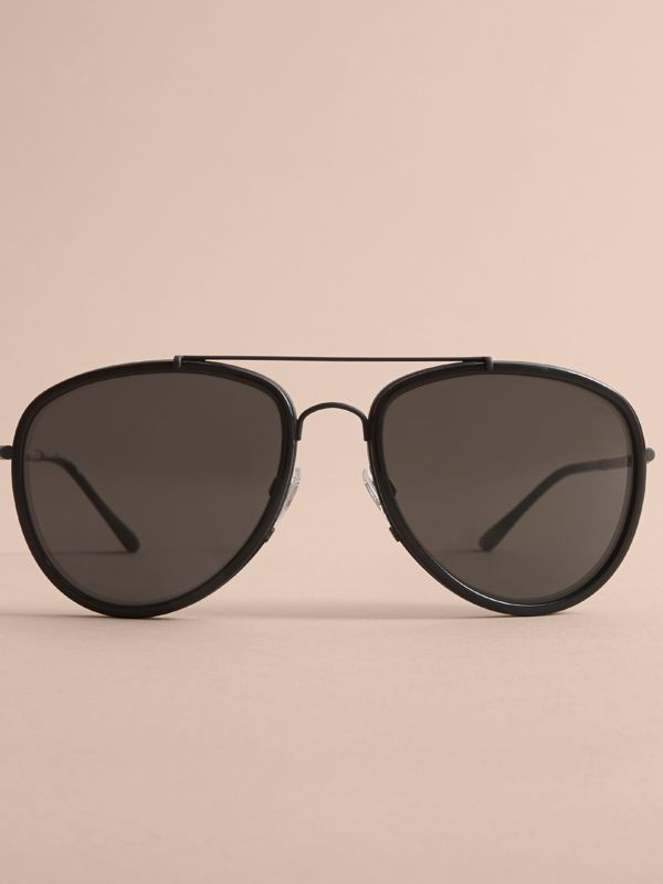 Check Detail Pilot Sunglasses in Black - Men | Burberry Canada - cell image 2