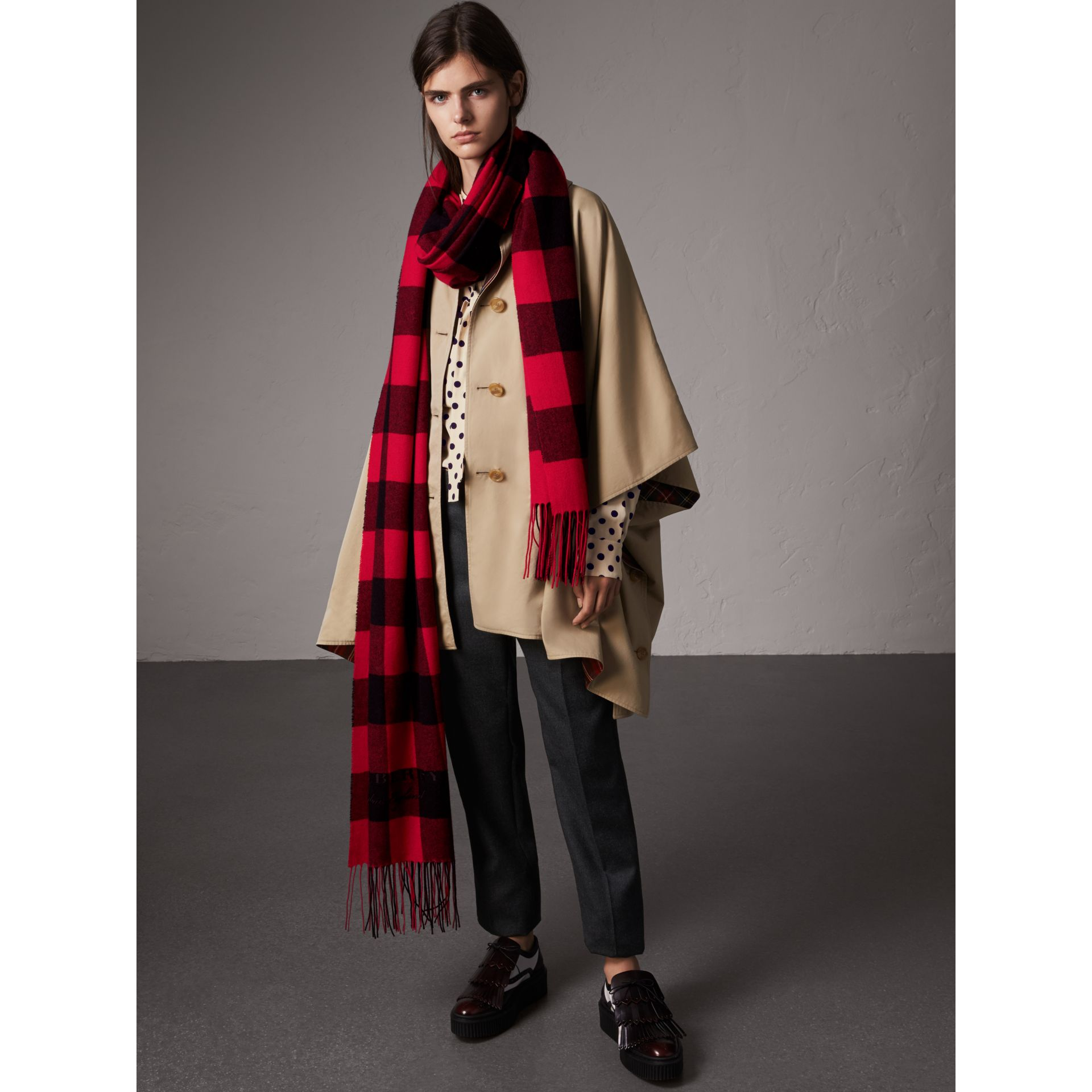 Oversized Gingham Cashmere Wool Scarf in Bright Red - Women | Burberry - gallery image 2