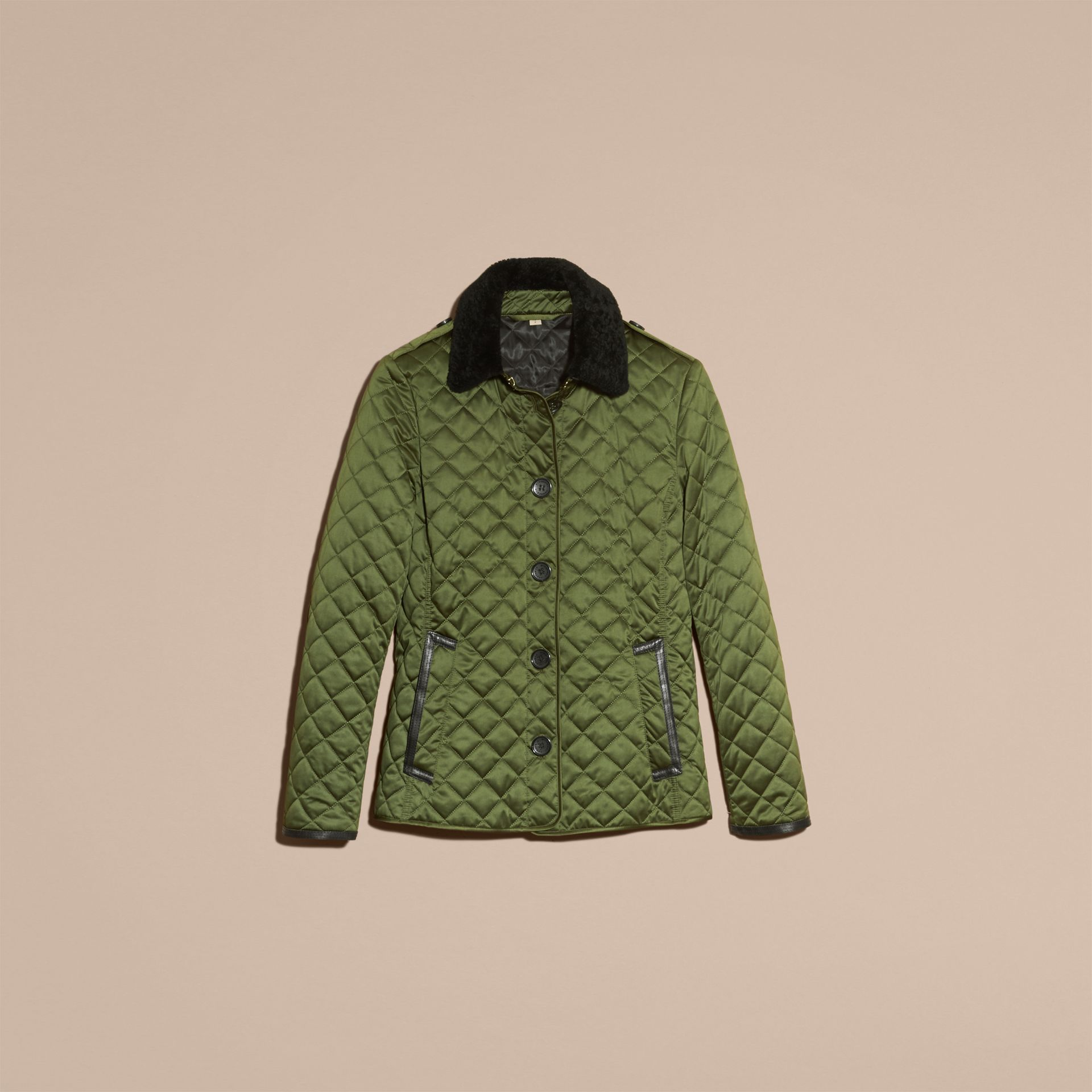 Bright moss green Quilted Jacket with Shearling Collar - gallery image 4