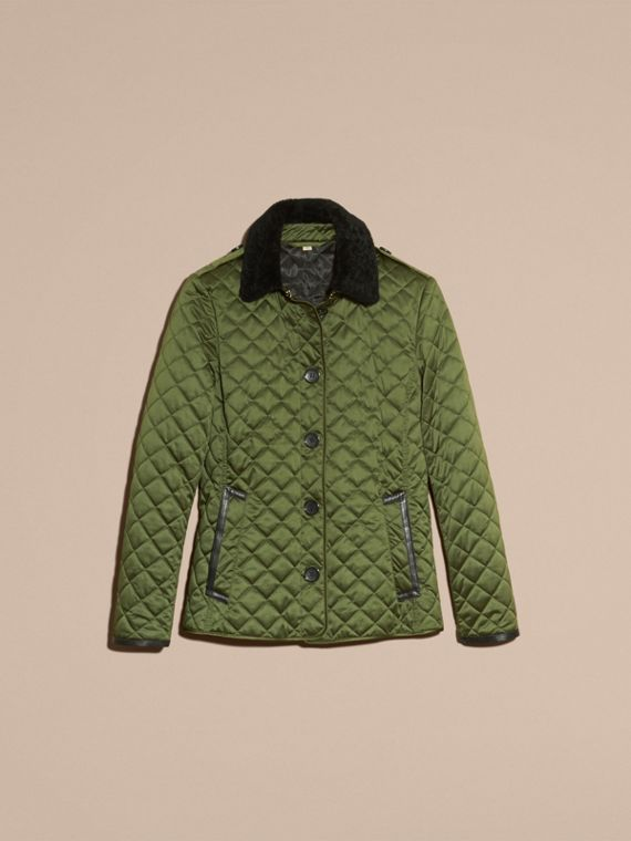 Bright moss green Quilted Jacket with Shearling Collar - cell image 3