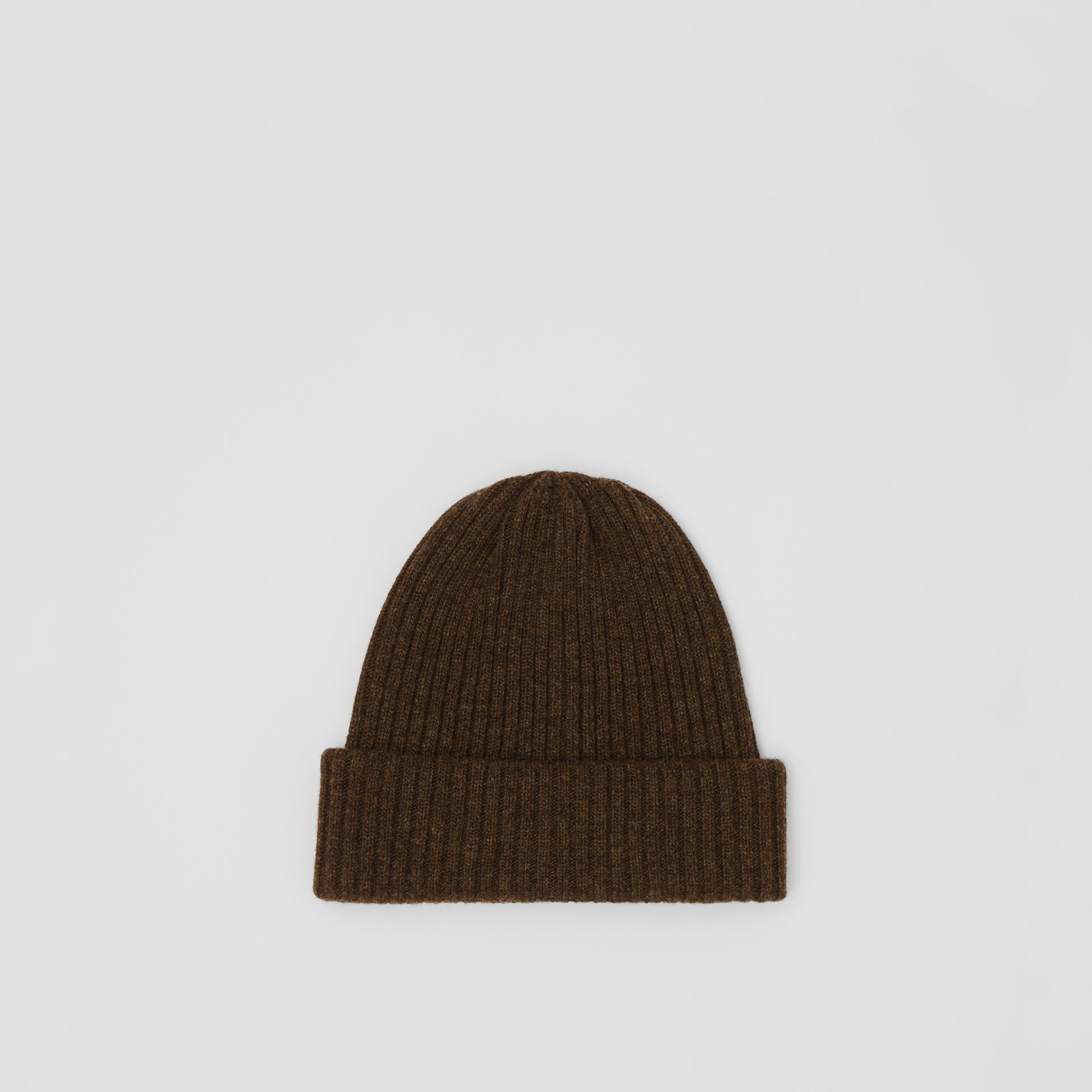Rib Knit Wool Beanie in Deep Brown | Burberry - gallery image 0