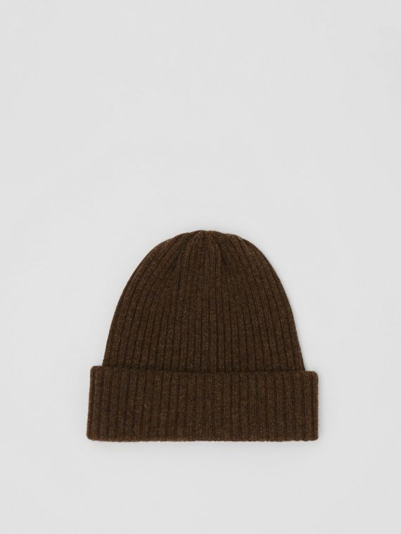 Rib Knit Wool Beanie in Deep Brown