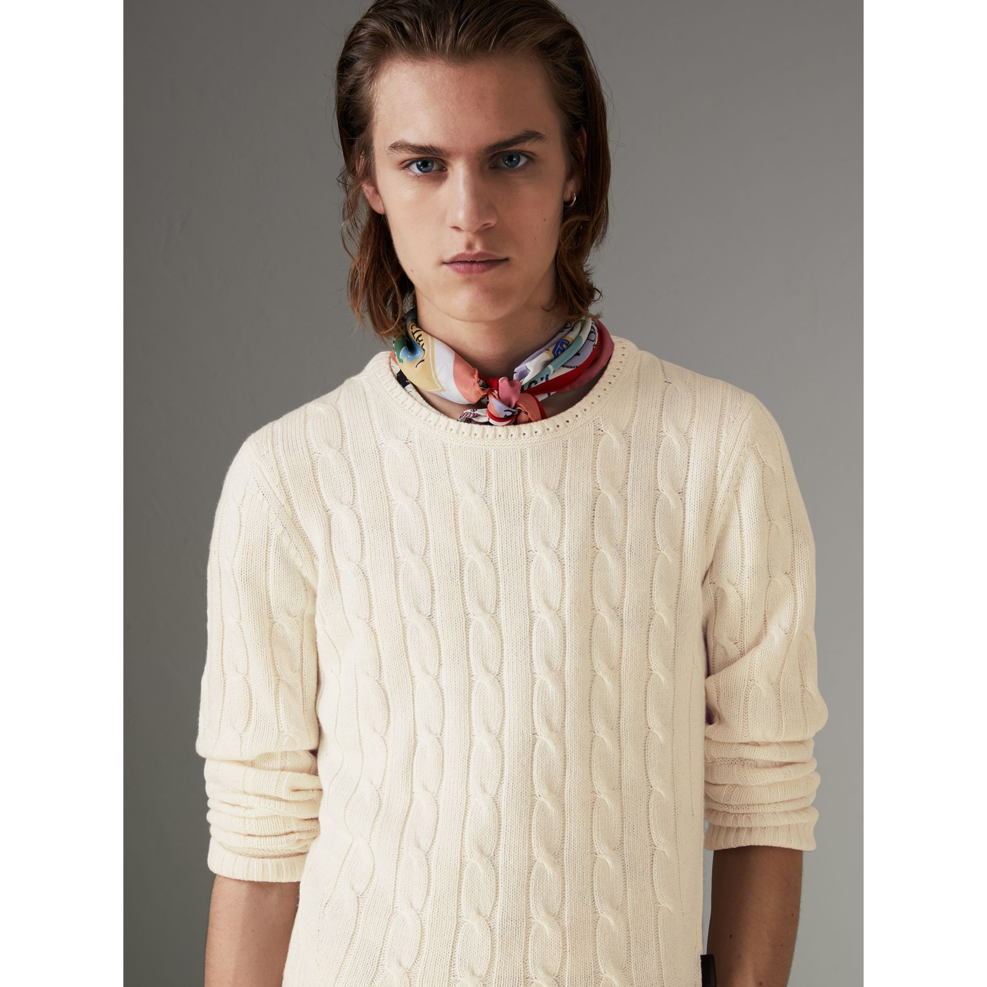 Cable Knit Cotton Cashmere Sweater in Chalk White - Men | Burberry - gallery image 4