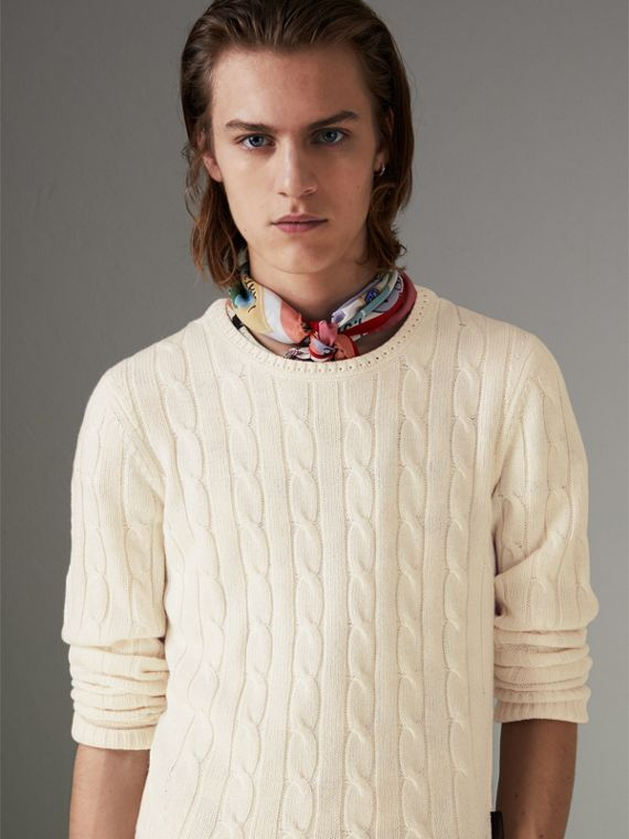 Cable Knit Cotton Cashmere Sweater in Chalk White