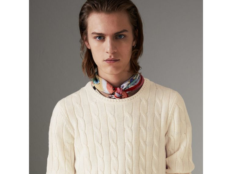 Cable Knit Cotton Cashmere Sweater in Chalk White - Men | Burberry - cell image 4