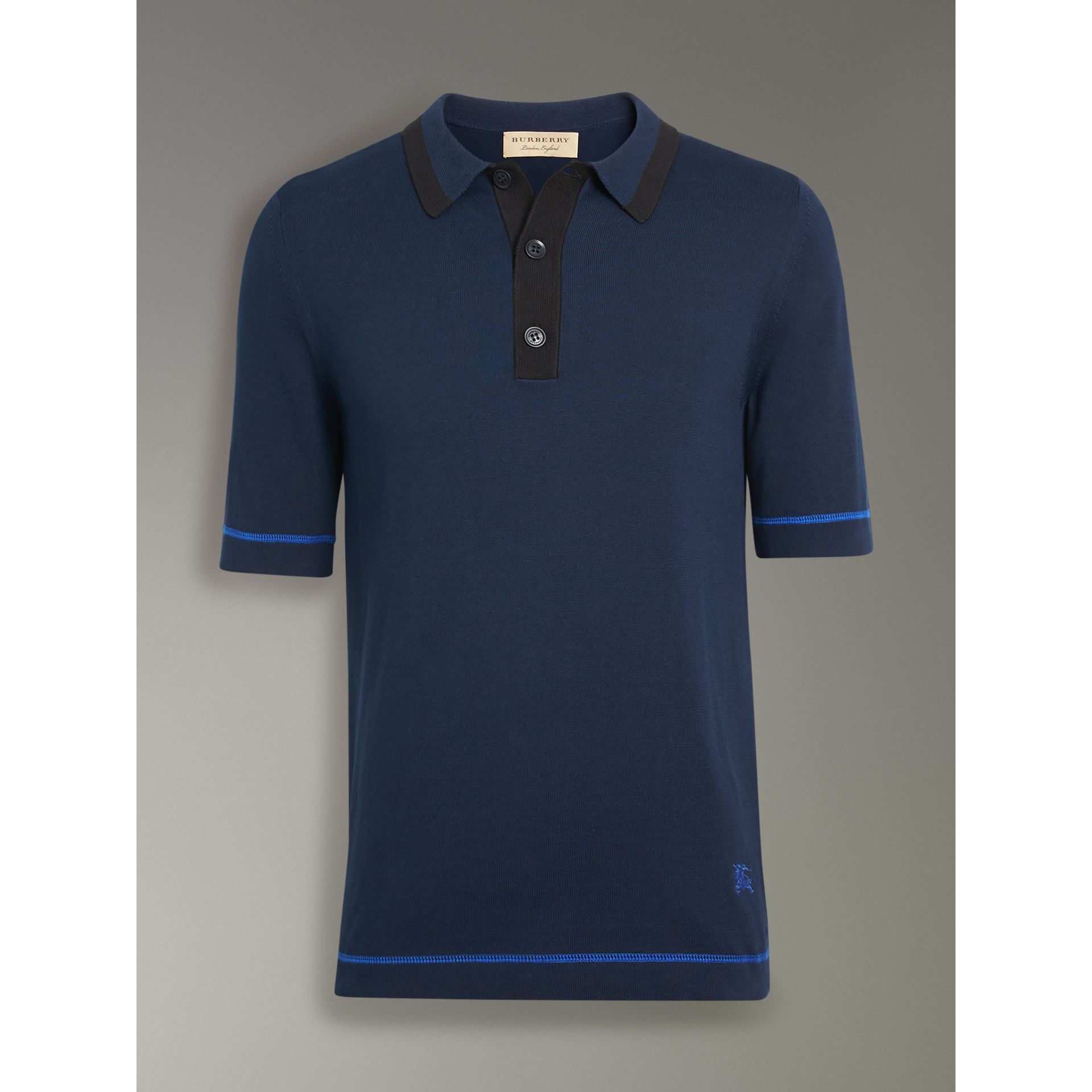 Tipped Cotton Jersey Polo Shirt in Navy Blue - Men | Burberry - gallery image 3