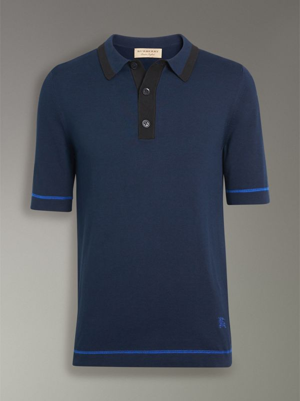 Tipped Cotton Jersey Polo Shirt in Navy Blue - Men | Burberry - cell image 3