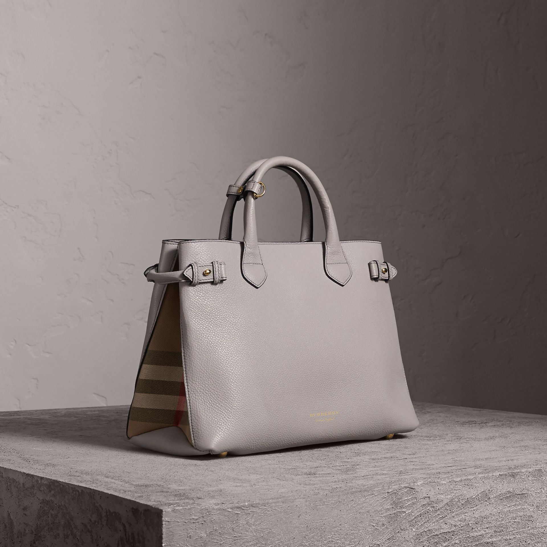 The Medium Banner in Leather and House Check in Light Grey Melange - Women | Burberry United Kingdom - gallery image 0