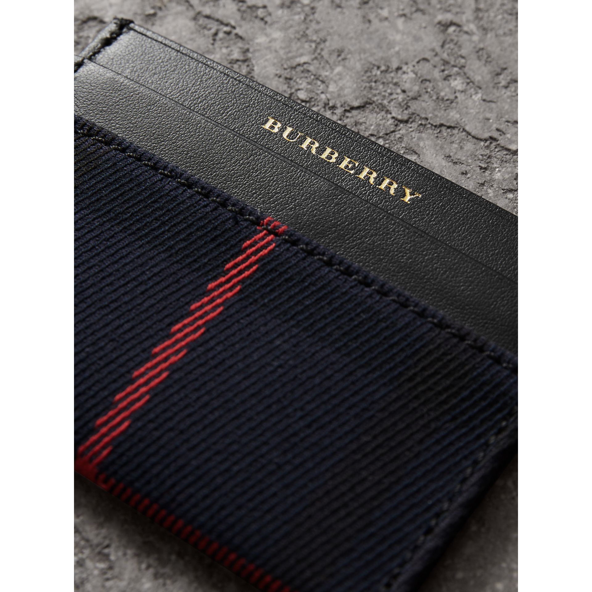 Tartan Check and Leather Card Case in Deep Navy/black | Burberry - gallery image 1