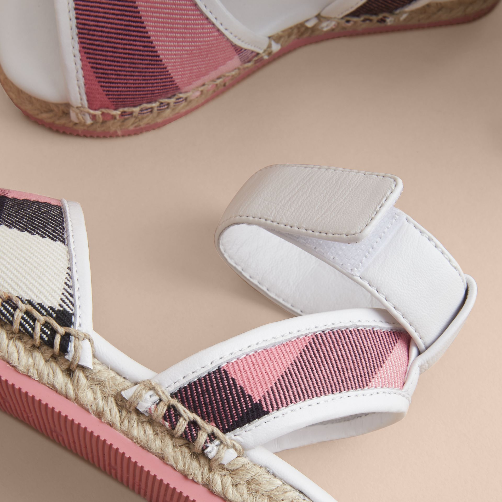 Leather Ankle Strap and House Check Espadrille Sandals in Rose Pink - Children | Burberry Canada - gallery image 2