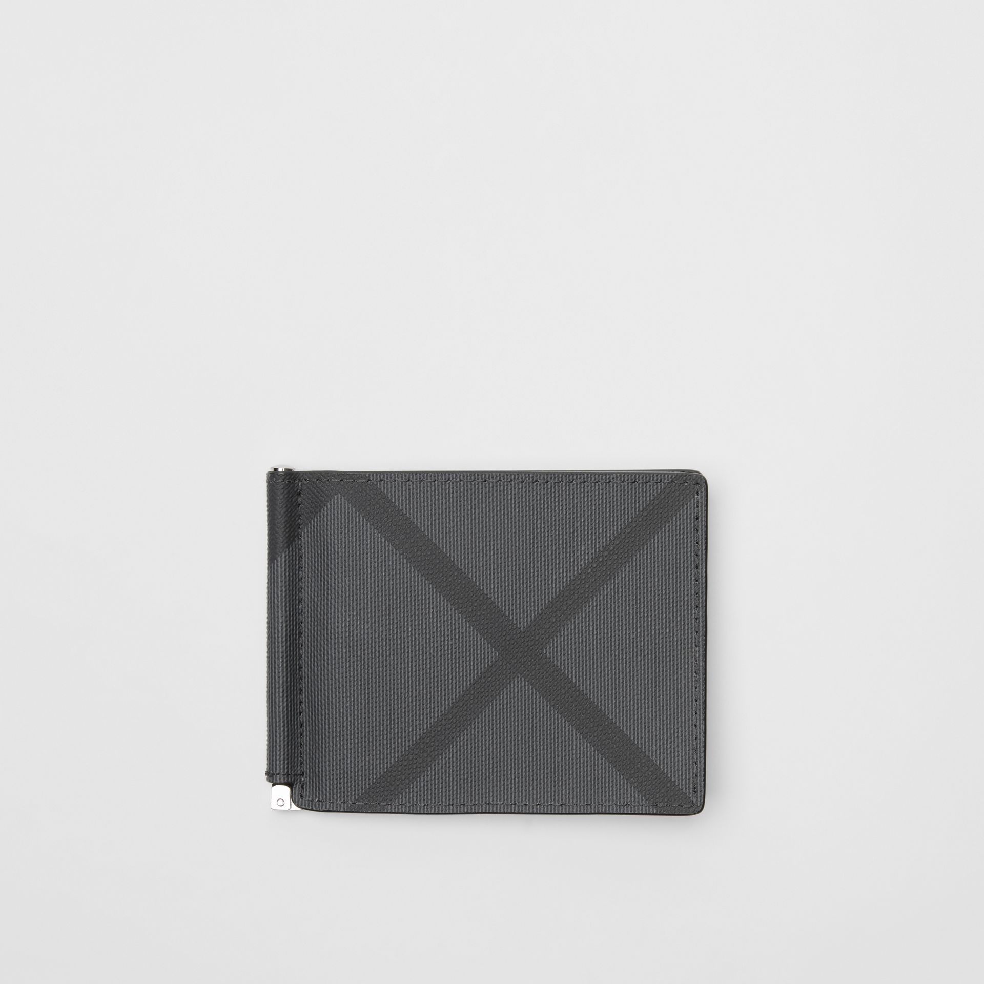 London Check and Leather Money Clip Card Wallet in Charcoal/black - Men | Burberry - gallery image 0