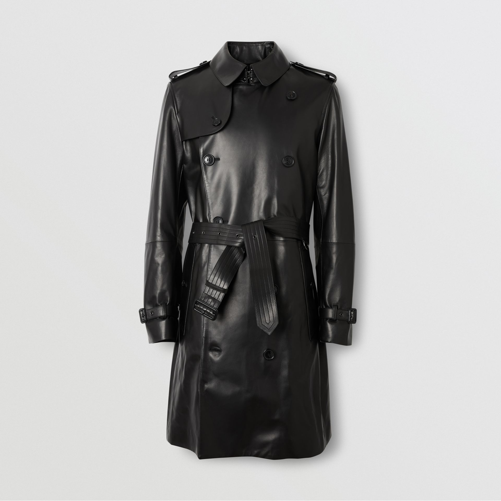 Lambskin Trench Coat in Black - Men | Burberry Australia - gallery image 3