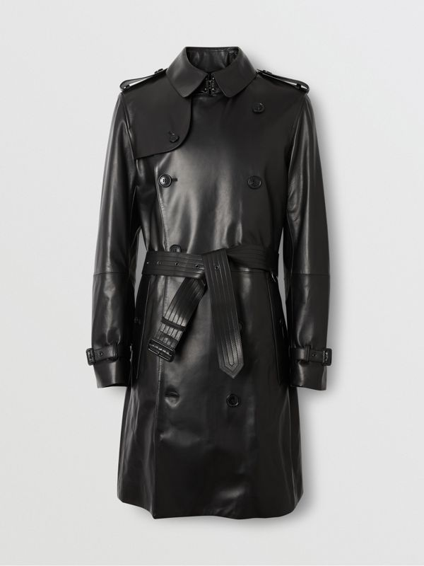 Lambskin Trench Coat in Black - Men | Burberry Australia - cell image 3