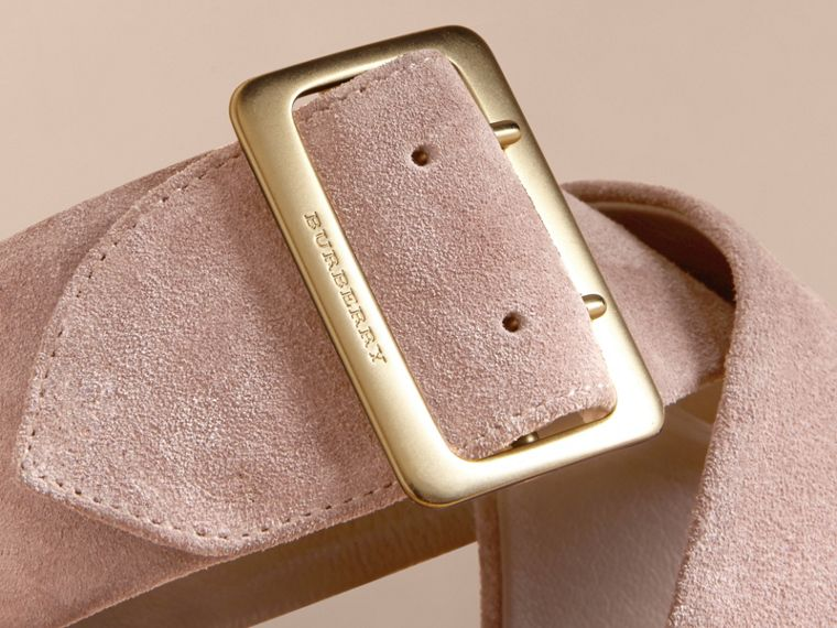Buckle Detail Suede Crossover Strap Sandals - Women | Burberry - cell image 1