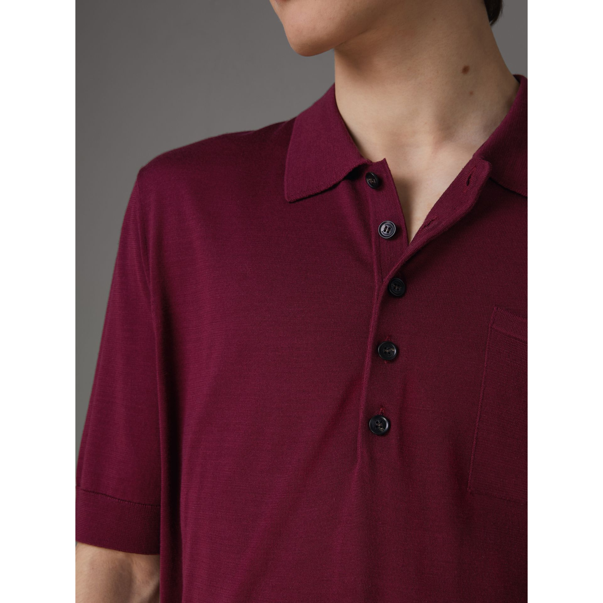 Knitted Silk Polo Shirt in Dark Crimson - Men | Burberry Australia - gallery image 1