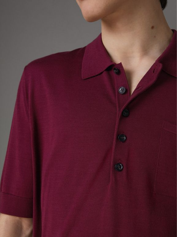 Knitted Silk Polo Shirt in Dark Crimson - Men | Burberry Australia - cell image 1