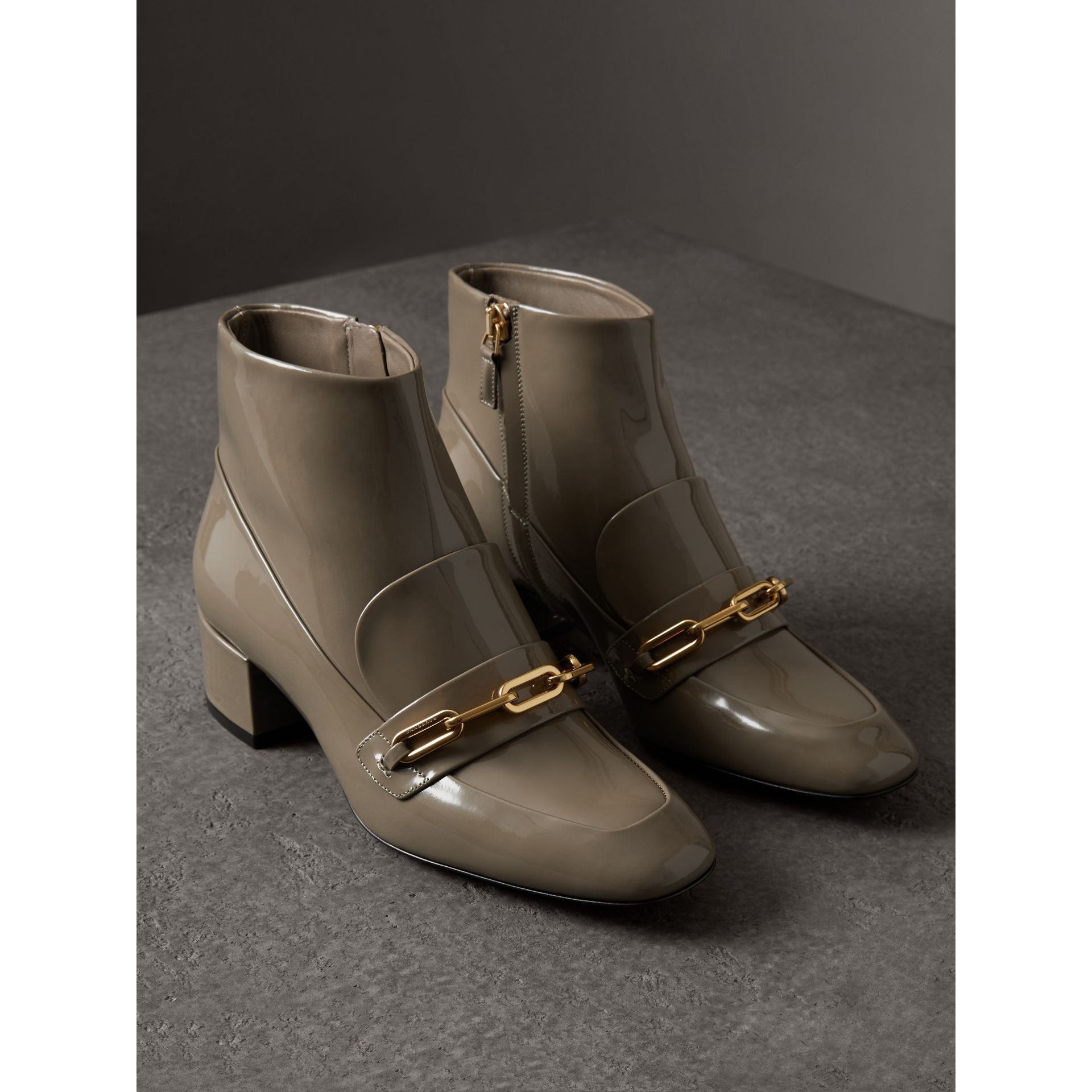 Link Detail Patent Leather Ankle Boots in Taupe Grey - Women | Burberry Canada - gallery image 4
