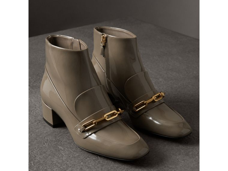 Link Detail Patent Leather Ankle Boots in Taupe Grey - Women | Burberry United Kingdom - cell image 4