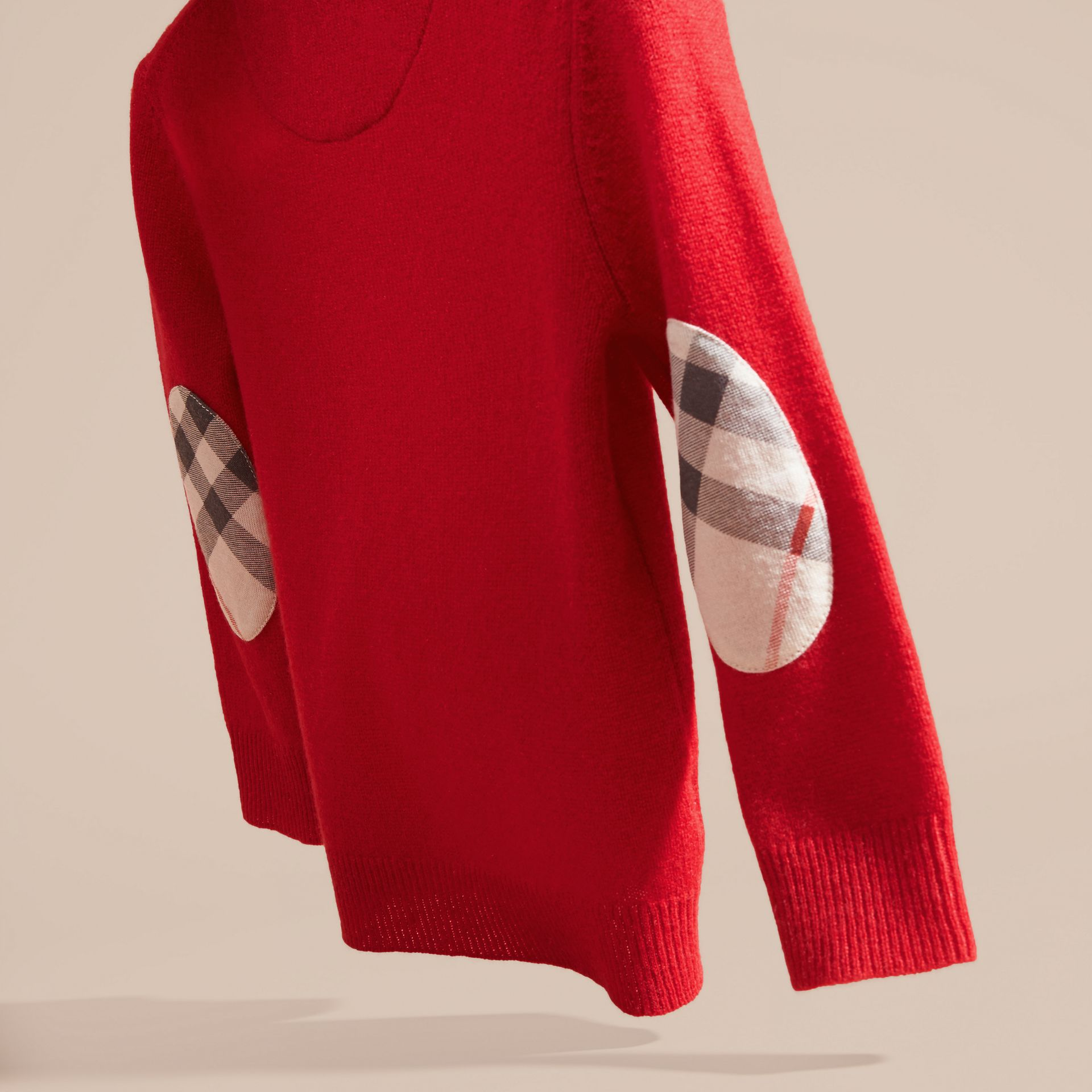 Check Elbow Patch Cashmere Sweater in Parade Red - Boy | Burberry - gallery image 4