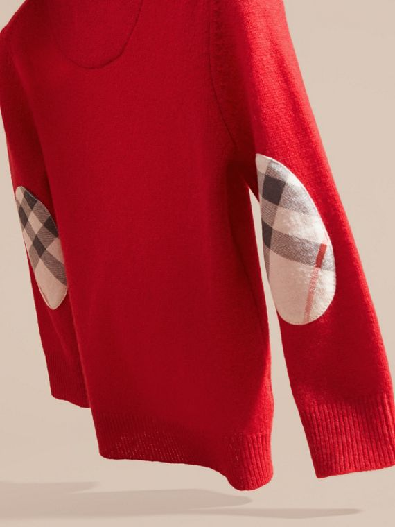 Check Elbow Patch Cashmere Sweater in Parade Red - cell image 3