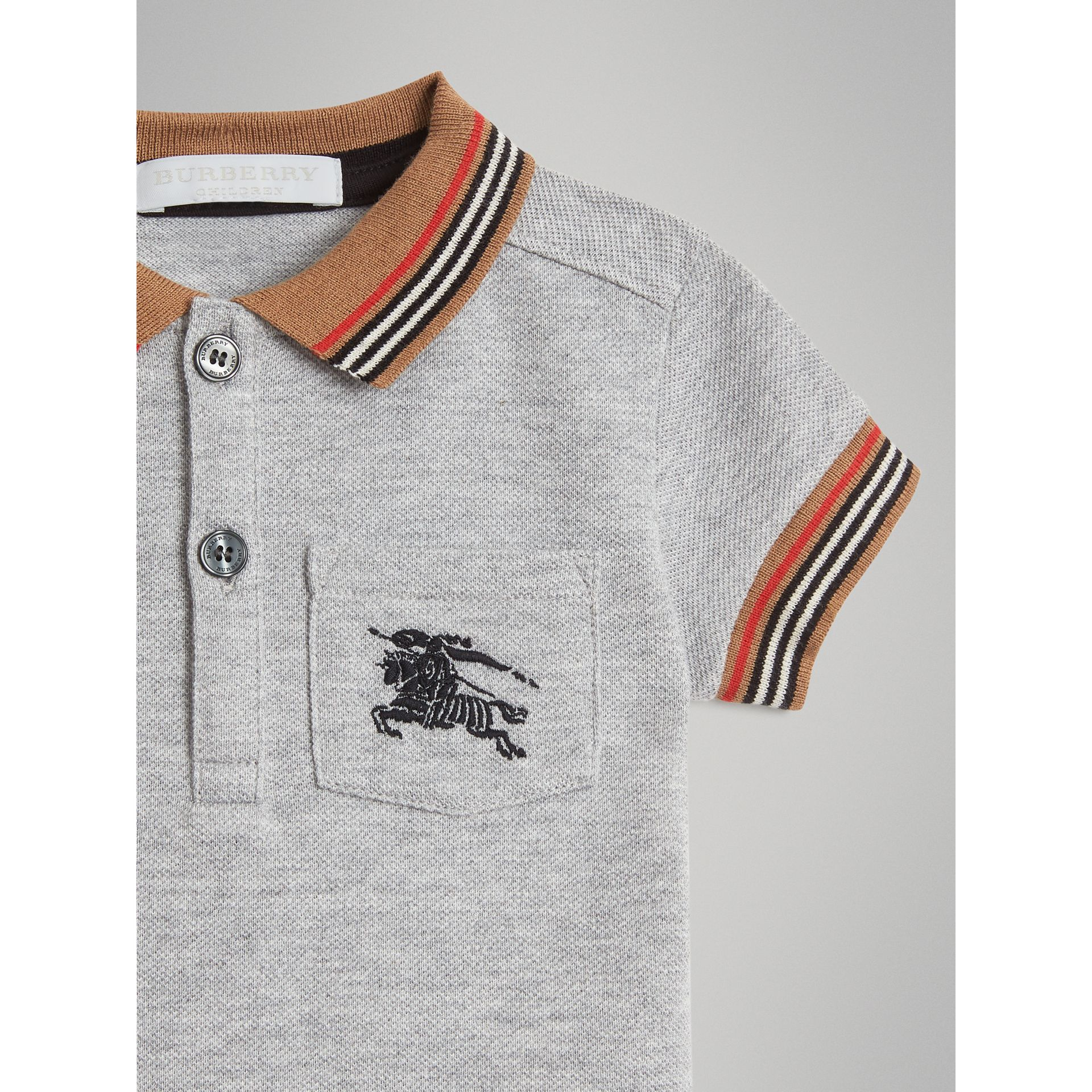 Heritage Stripe Detail Cotton Polo Shirt in Grey Melange - Children | Burberry United Kingdom - gallery image 4