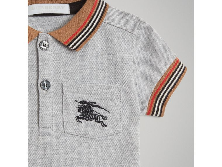 Heritage Stripe Detail Cotton Polo Shirt in Grey Melange | Burberry - cell image 4