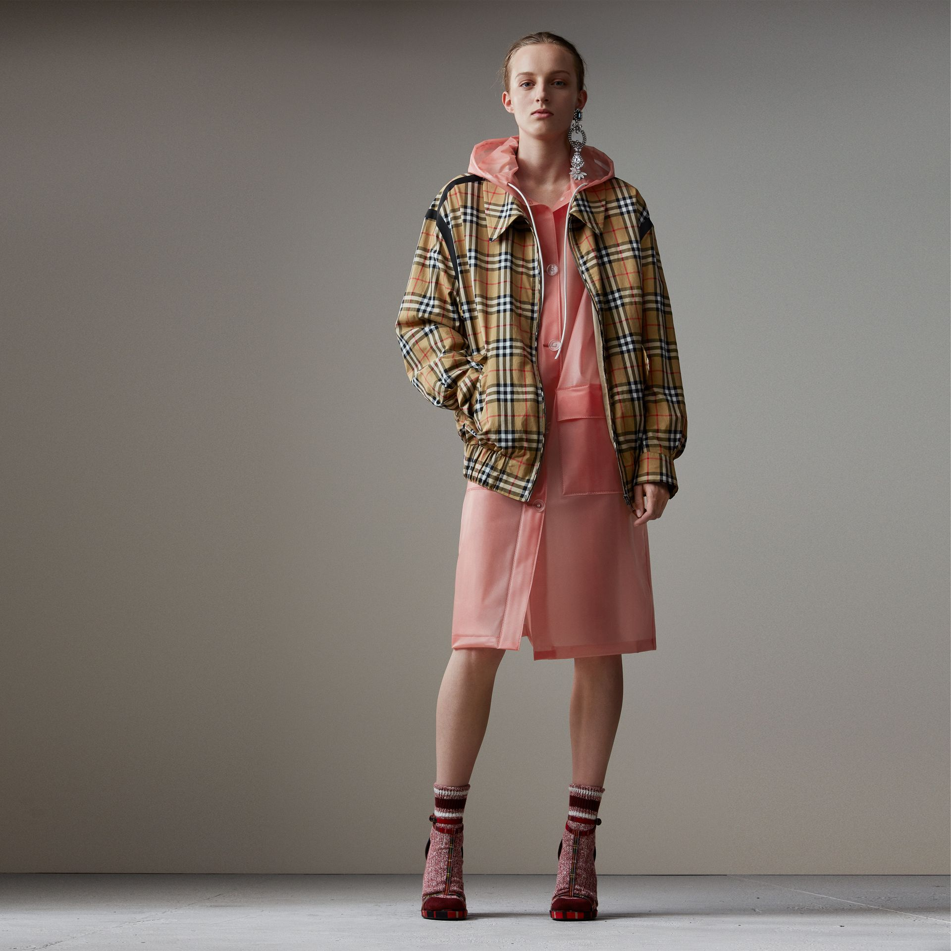 Vintage Check Gabardine Harrington Jacket in Antique Yellow - Women | Burberry Hong Kong - gallery image 0
