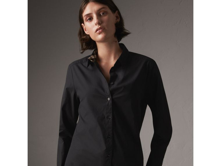 Check Detail Stretch-cotton Shirt - Women | Burberry Singapore - cell image 4