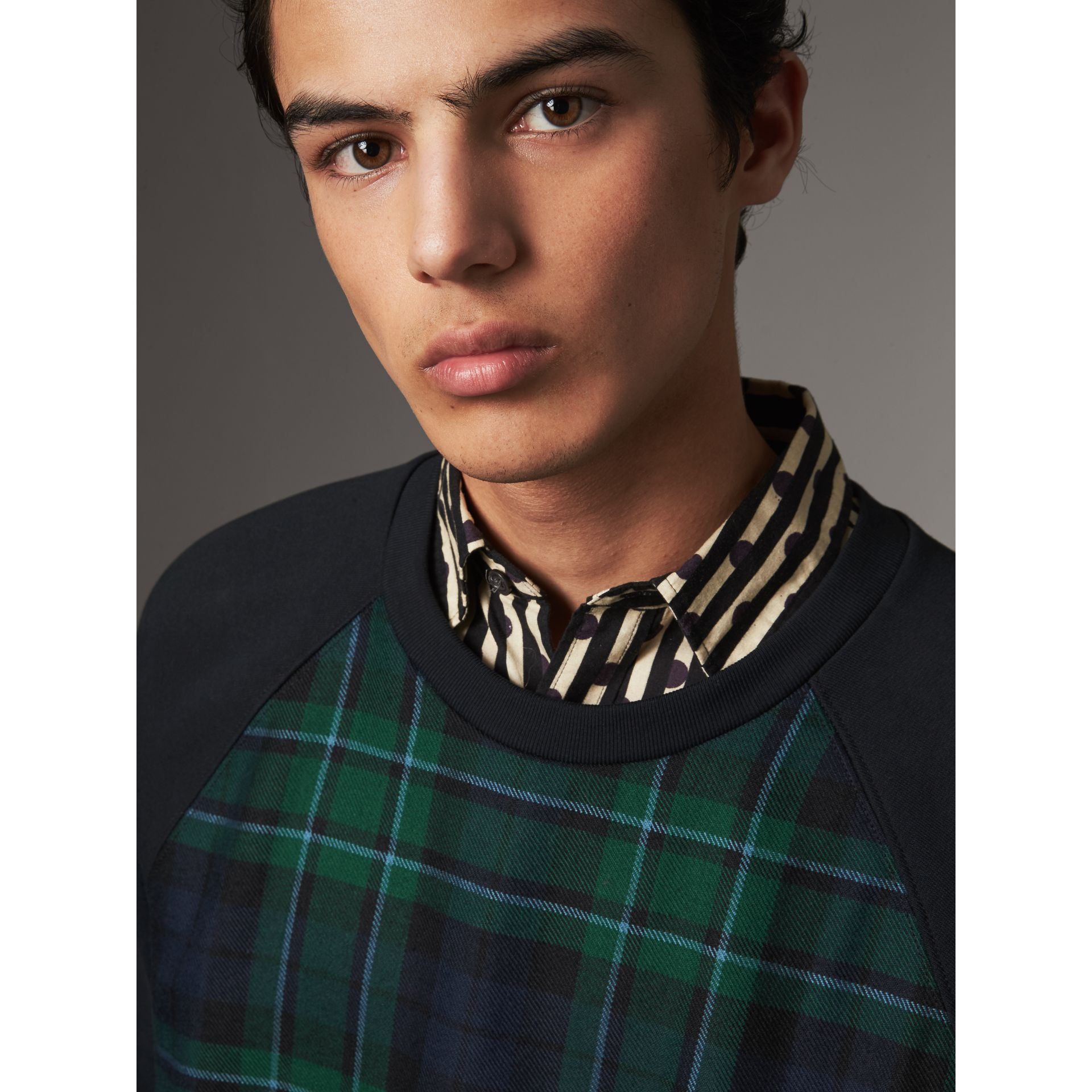 Tartan Panel Jersey Sweatshirt in Navy - Men | Burberry - gallery image 1
