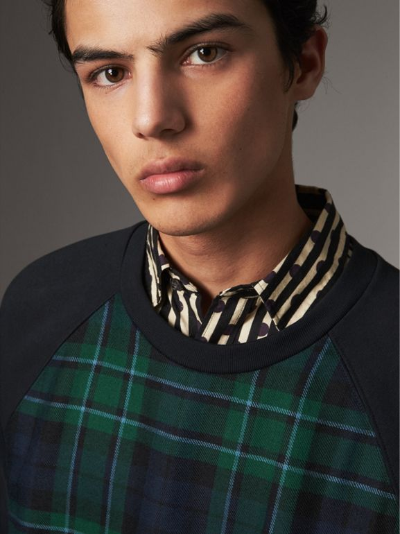 Tartan Panel Jersey Sweatshirt in Navy - Men | Burberry - cell image 1