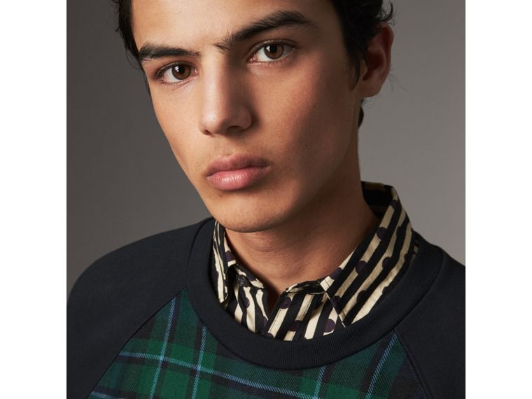 Tartan Panel Jersey Sweatshirt in Navy - Men | Burberry United States - cell image 1