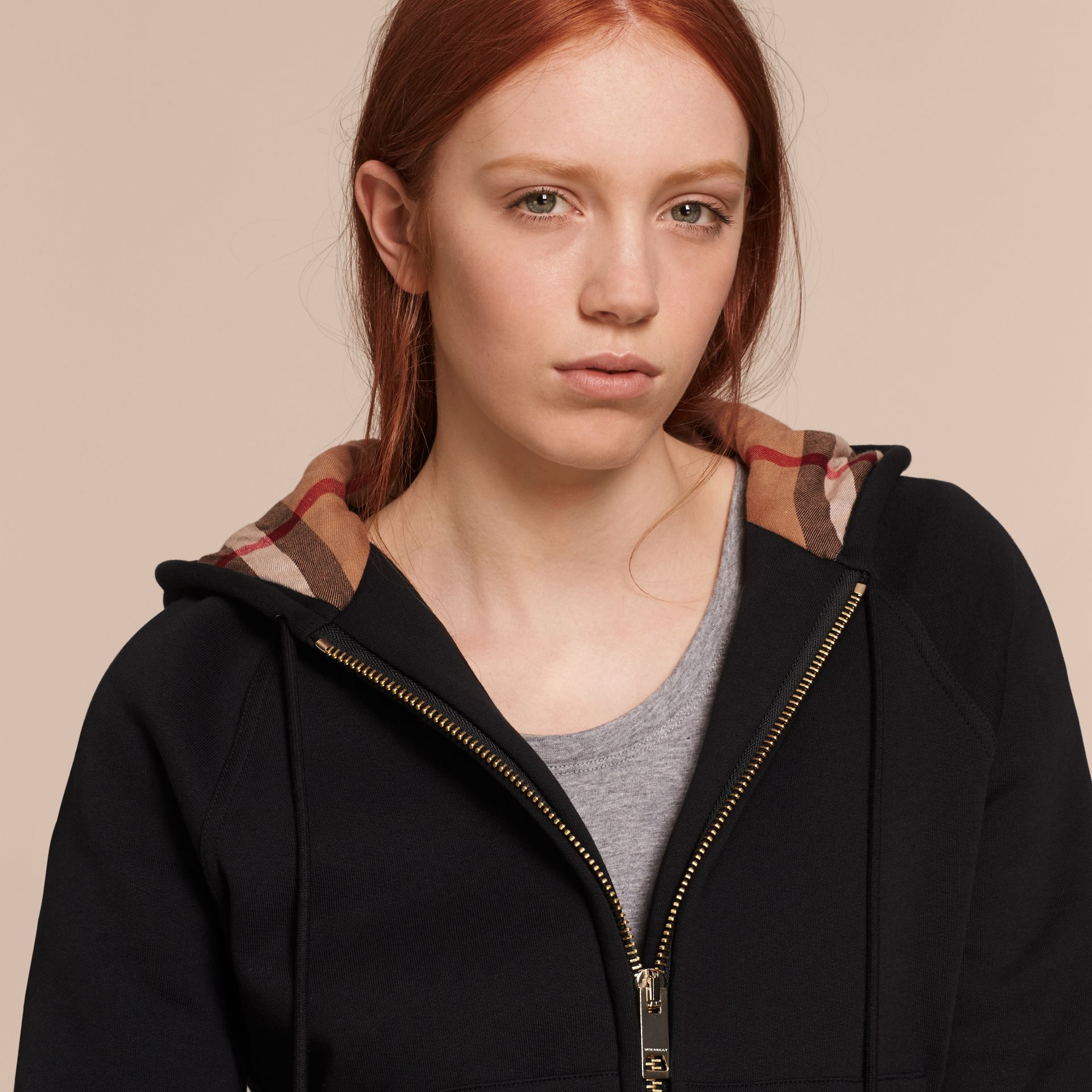 Hooded Zip-front Cotton Blend  Sweatshirt in Black - Women | Burberry - gallery image 6