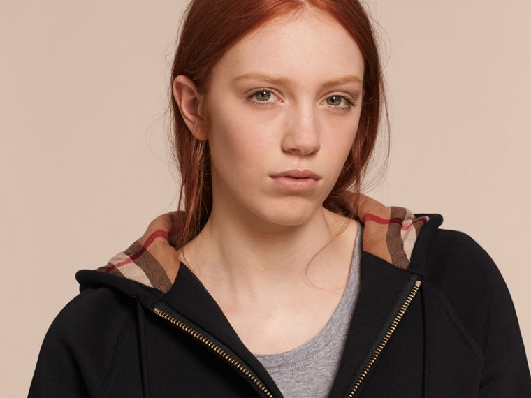Hooded Zip-front Cotton Blend  Sweatshirt in Black - Women | Burberry Australia - cell image 4