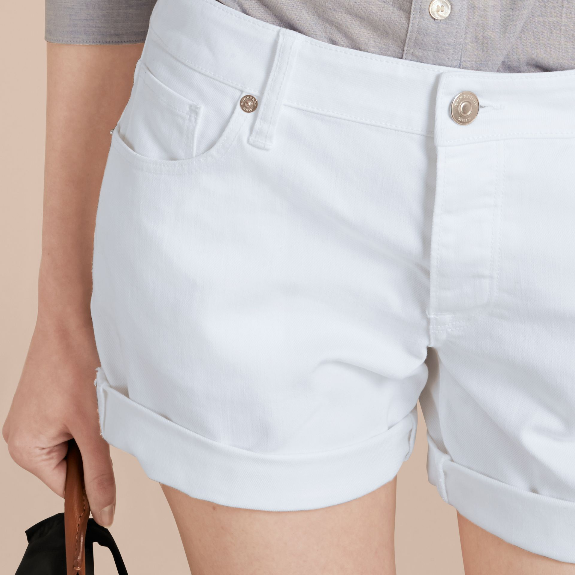 White Low-Rise Japanese Denim Shorts - gallery image 5