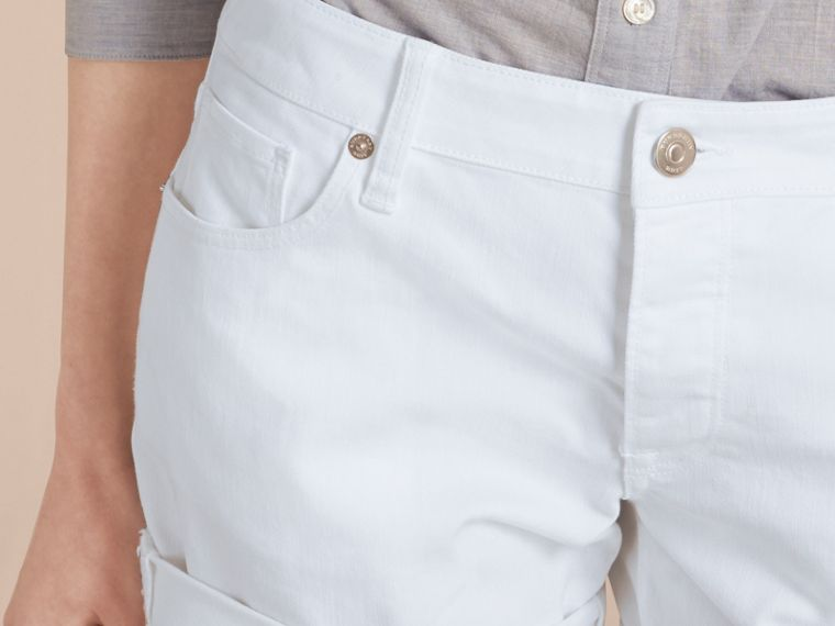 White Low-Rise Japanese Denim Shorts - cell image 4