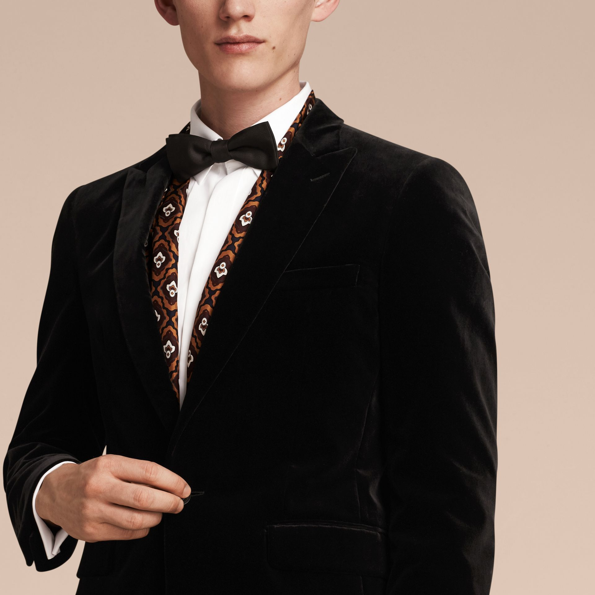 Black Slim Fit Tailored Velvet Jacket - gallery image 5