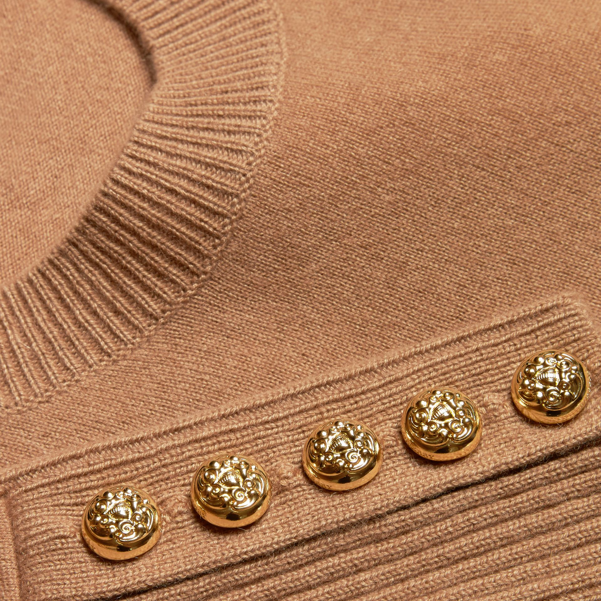 Camel Cashmere Sweater with Crested Buttons Camel - gallery image 2