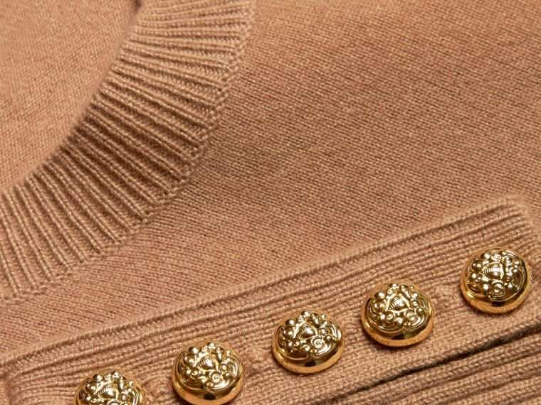 Camel Cashmere Sweater with Crested Buttons Camel - cell image 1