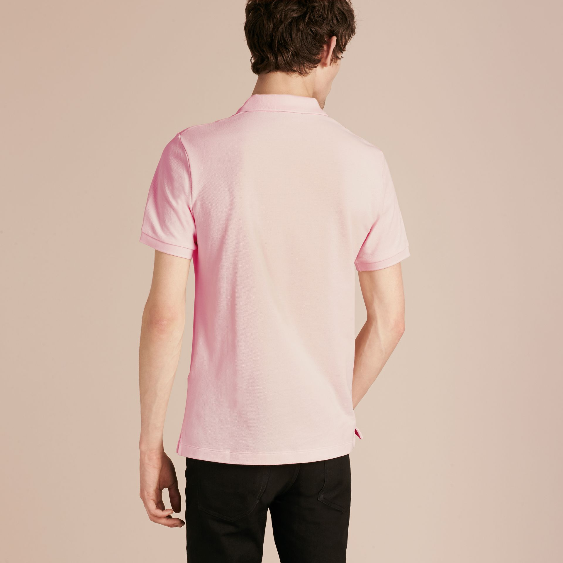 Check Placket Cotton Piqué Polo Shirt in City Pink - gallery image 3
