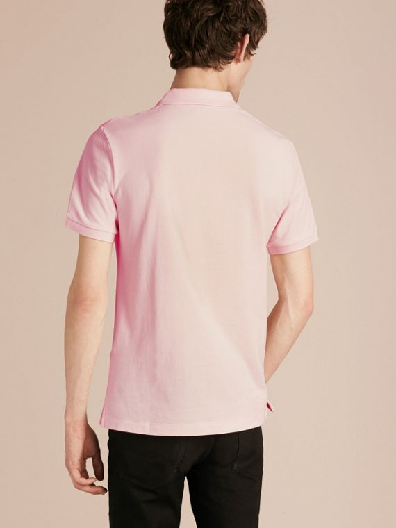 Check Placket Cotton Piqué Polo Shirt in City Pink - cell image 2