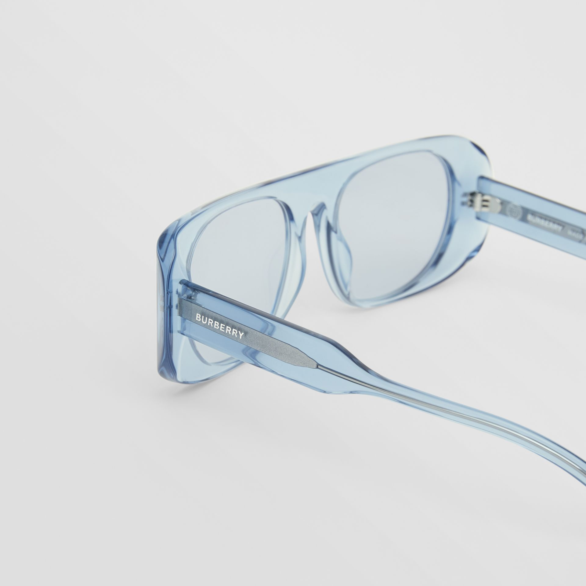Blake Sunglasses in Transparent Blue | Burberry - gallery image 1
