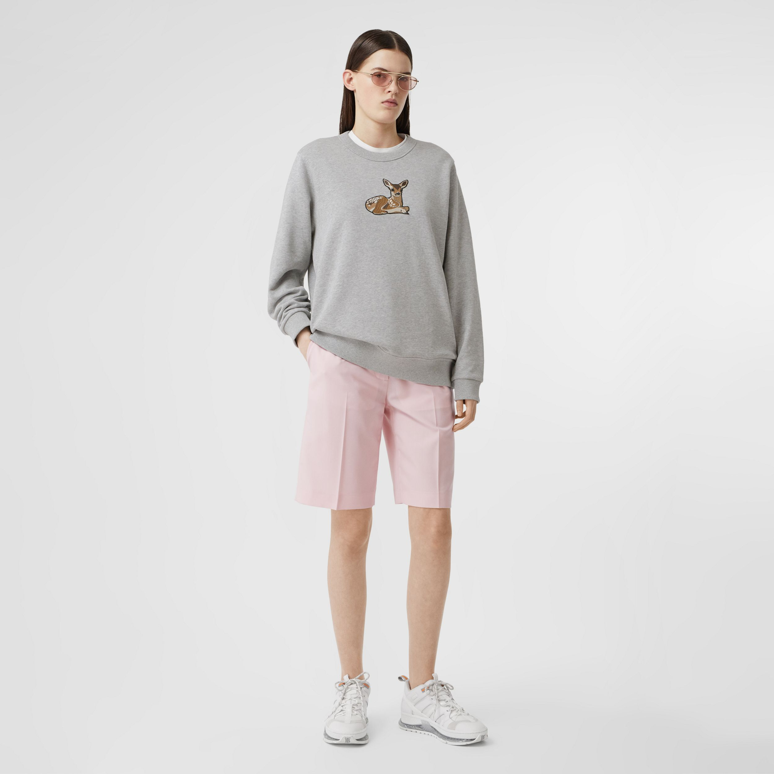 Deer Motif Cotton Oversized Sweatshirt in Pale Grey Melange - Women | Burberry - 1