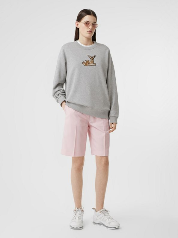Deer Motif Cotton Oversized Sweatshirt in Pale Grey Melange