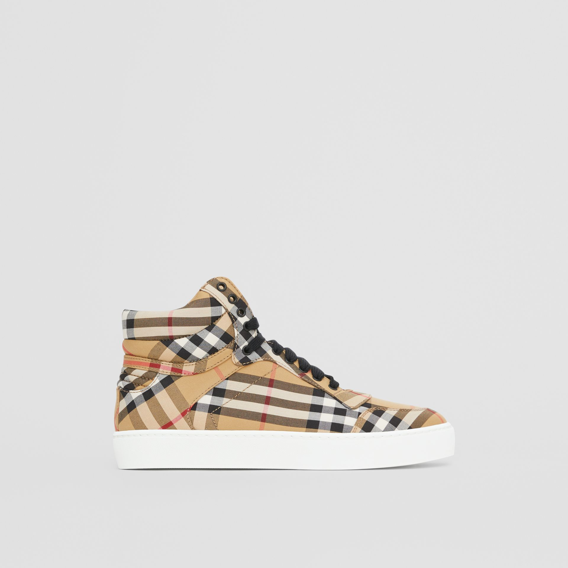 Vintage Check Cotton High-top Sneakers in Antique Yellow - Women | Burberry - gallery image 4