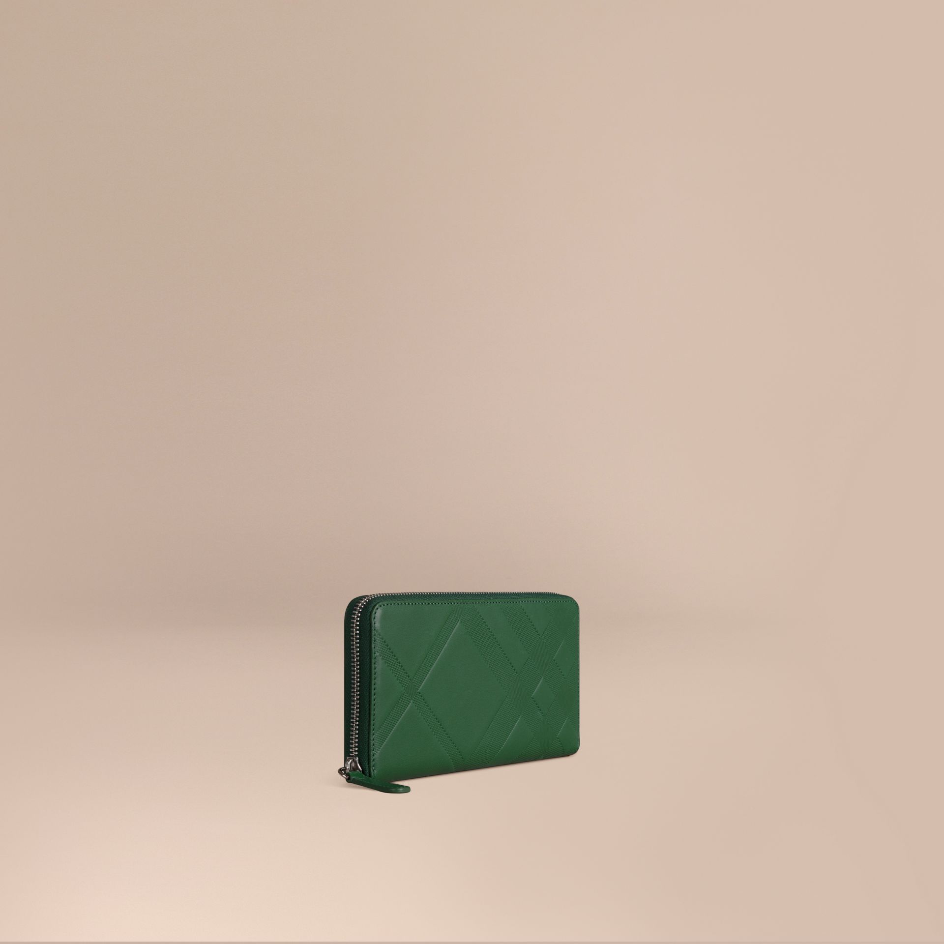 Bright forest green Check-embossed Leather Ziparound Wallet - gallery image 1