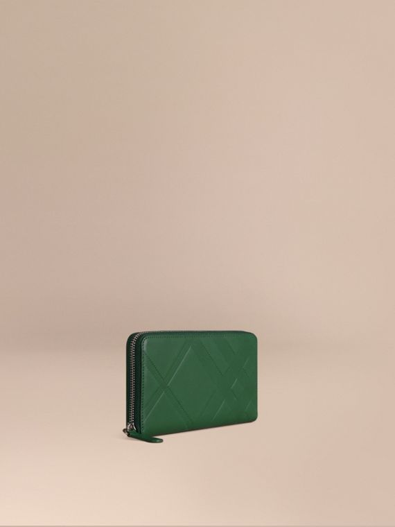 Check-embossed Leather Ziparound Wallet Bright Forest Green