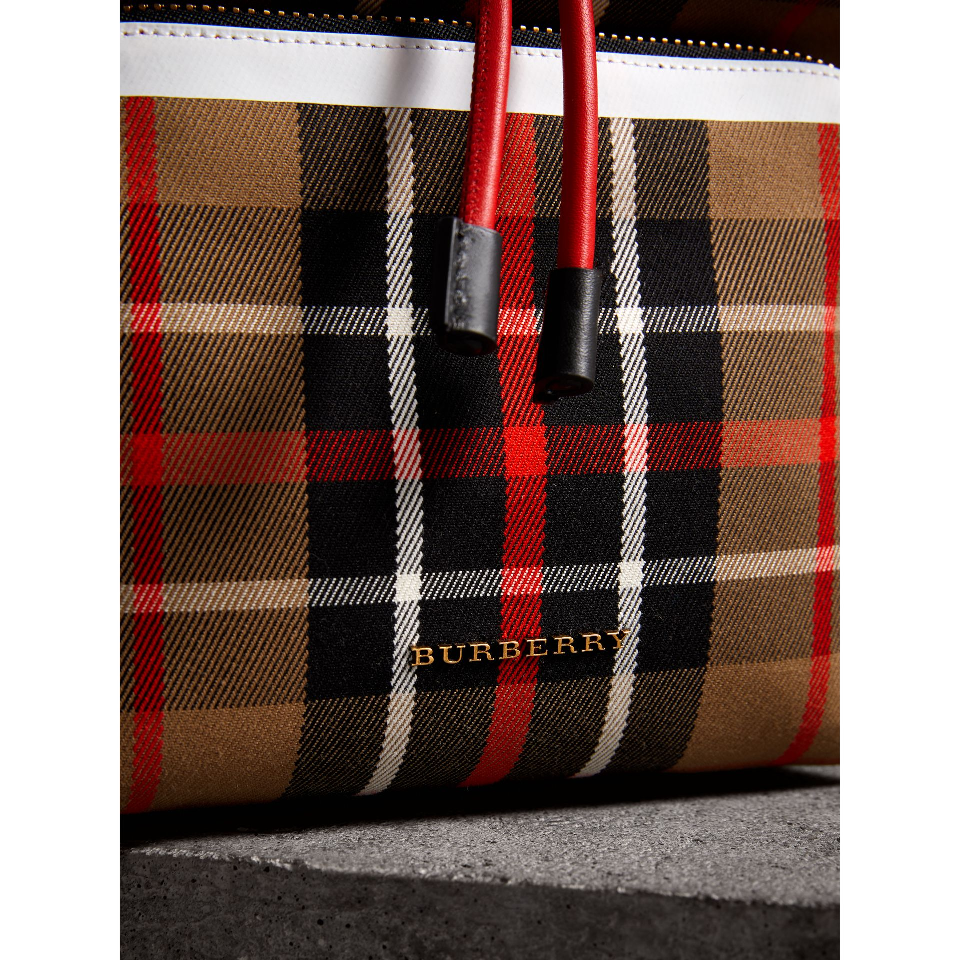 The Medium Rucksack in Check Cotton in Caramel - Women | Burberry - gallery image 2