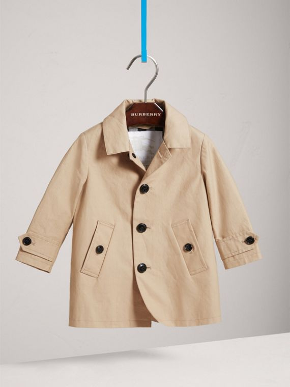 Detachable Hood Mercerised Cotton Trench Coat in Honey | Burberry - cell image 2