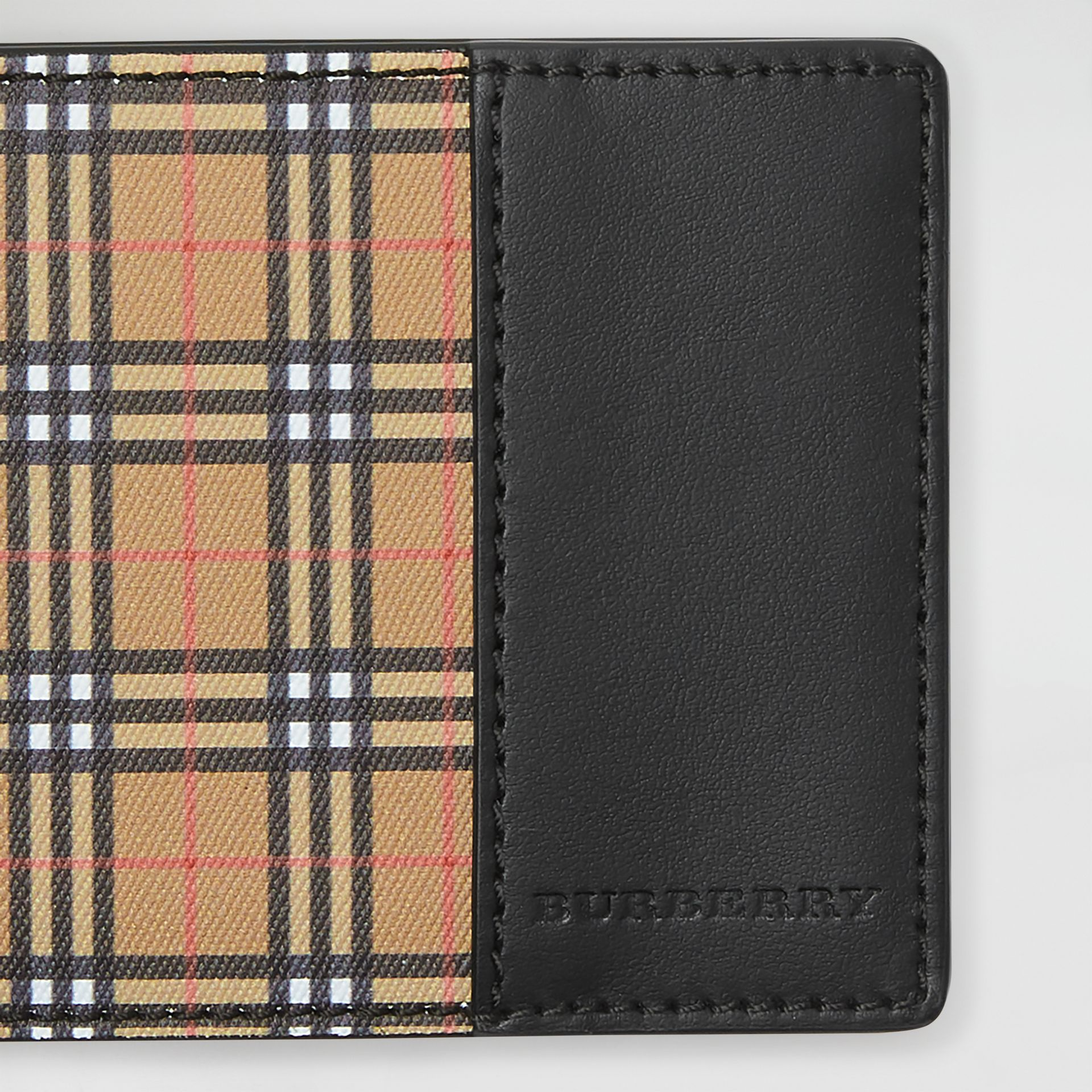 Small Scale Check and Leather Bifold Wallet in Antique Yellow/black - Men | Burberry Canada - gallery image 1