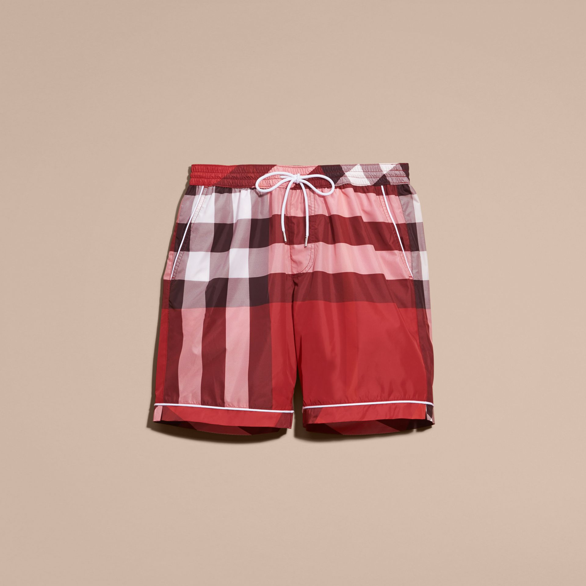 Parade red Check Print Swim Shorts with Piping Detail Parade Red - gallery image 4